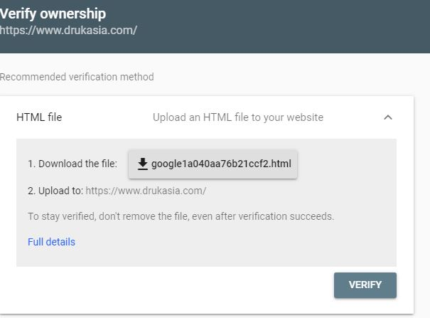 verify ownership on google search console