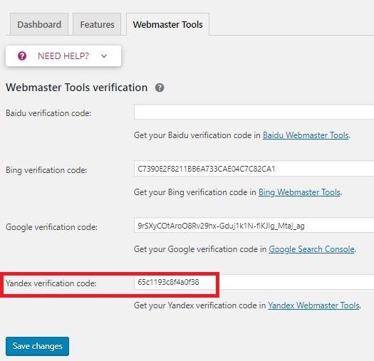 add yandex verification code on Yoast plugin