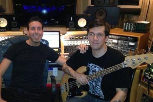 Xavier Alexander Wahlberg with his friend in studio