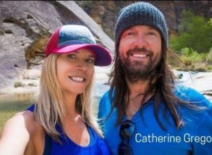 Catherine Gregory with her boyfriend Andrew hiking in Escalante, Utah Mountain.